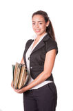 Young woman office worker with files Royalty Free Stock Photography