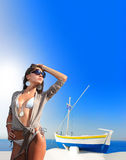 Young woman in Oia  Santorini island Greece Stock Photos