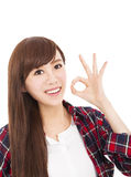 young woman with ok gesture Stock Photo