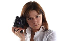 Young woman with old camera Royalty Free Stock Photography
