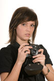 Young woman with old camera Royalty Free Stock Image