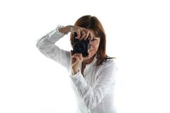 Young woman with old camera Royalty Free Stock Images