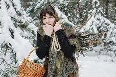 A young woman in old clothes is standing with a basket and brushwood in the snow in the winter forest. Stock Photos