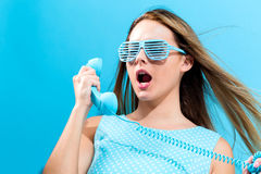 Young woman with old fashioned phone Royalty Free Stock Image