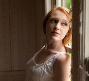 Young Woman in Old House Royalty Free Stock Photography