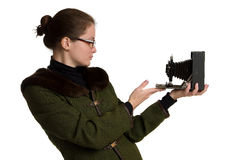 Young woman with old photographic camera. Royalty Free Stock Images