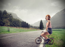 Free Young Woman On A Little Bike Stock Photos - 39521413
