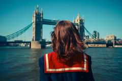 Free Young Woman On Boat Looking At Tower Bridge Stock Photos - 38960183