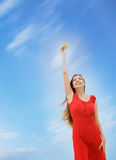Young Woman On Sky Background Royalty Free Stock Image