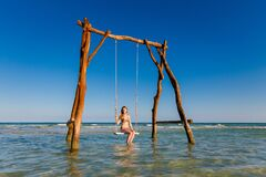 Young Woman On Swing Phu Quoc Stock Photography