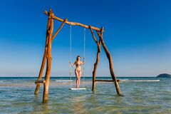 Young Woman On Swing Phu Quoc Stock Photos