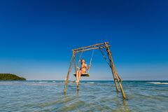 Young Woman On Swing Phu Quoc Royalty Free Stock Photos