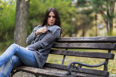 Free Young Woman On The Bench Royalty Free Stock Photography - 33760357