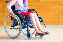 Free Young Woman On Wheelchair In The Medical Center Stock Image - 129613201