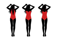 Young woman in one-piece swimsuit taking sunbath silhouettes set Royalty Free Stock Photography