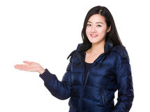 Young woman with open hand palm Stock Photography