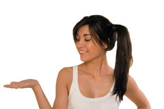 Young woman with an open hand,palm up Stock Image