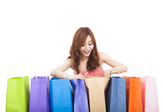 Young woman open  shopping bags Stock Image