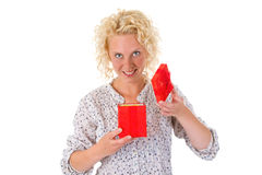 Young woman opening gift box Stock Photo