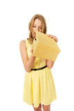 Young woman opening gift box Royalty Free Stock Photography