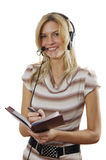 The young woman the operator Stock Photo
