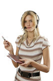 The young woman the operator Royalty Free Stock Photo