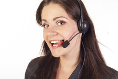 Young Woman operator with headset royalty free stock photography