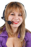 Young woman operator with headset Royalty Free Stock Image