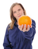 Young woman and orange Stock Photo