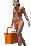Young woman in orange bikini carrying cooler, low angle view, cut out Stock Photo