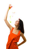 Young woman in orange dress with flying royalty free stock photo