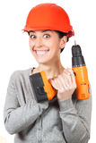 Smiling woman with orange hard hat. isolated Royalty Free Stock Image