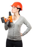 Young woman with orange hard hat on white Stock Image