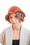 Young woman in orange hat Stock Images
