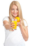 Young woman with orange juice Stock Image