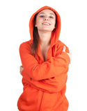 Young woman in orange sweatshirt Stock Photography