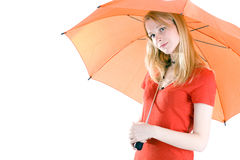 Young woman with orange umbrella Stock Photo