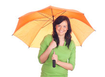 Young woman with orange umbrella Stock Image
