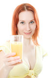 Young woman with oranges juice. On a white background Stock Images