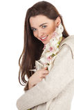 Young woman with orchid Royalty Free Stock Photos