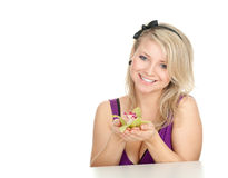Young woman with orchid Royalty Free Stock Photography