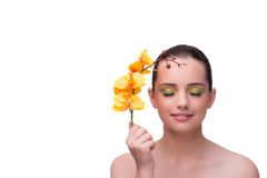 The young woman with orchid flower isolated on white. Young woman with orchid flower isolated on white Stock Images
