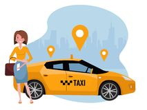 Young woman ordering taxi on mobile phone. Rent a car using mobile app. Online taxi app concept. Yellow car on background of royalty free illustration