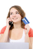 Young woman ordering via internet Royalty Free Stock Photo