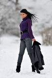 Young woman outdoor. In winter Stock Photography