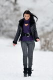 Young woman outdoor. In winter Royalty Free Stock Image