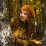 Young woman outdoor in autumn Royalty Free Stock Photos
