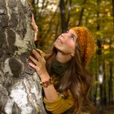 Young woman outdoor in autumn Royalty Free Stock Image
