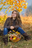 Young woman outdoor in autumn Royalty Free Stock Images