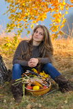 Young woman outdoor in autumn Stock Images